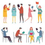 Male and female characters standing and sitting and reading books royalty free illustration