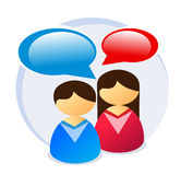Male & female chat icon. Male and female icons with glossy speech bubbles. This illustration is useful for chat, forum or customer support. Vector file (.ai Royalty Free Stock Photography