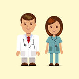 Male and female in clothing doctors Stock Photo
