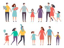 Male and female couples. Childrens and family couples characters isolate on white. Family mother father girl and boy, vector illustration royalty free illustration
