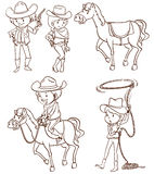 Male and female cowboys. A plain drawing of the male and female cowboys on a white background Stock Photos