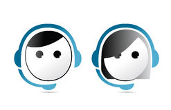 Male and female customer support representatives. stock illustration