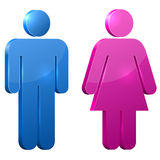 Male and female 3D door signs Stock Images