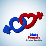 Male and female 3D gender symbols Stock Photos