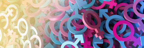 Male and female 3d infinite signs Stock Photo