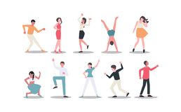 Male and Female dancers on white background vector illustration