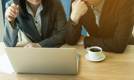 Man and woman talking about business. Male and female discuss about working, business concept stock photography