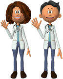 Male Female Doctor Cartoon Isolated Royalty Free Stock Photo