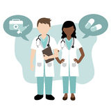 Male and female doctor. Illustration of a male and female doctor Stock Illustration
