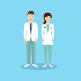 Male and Female Doctor occupation character in flat design. Royalty Free Stock Photos