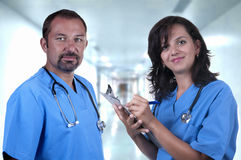 Male and female doctors. In the hospital Royalty Free Stock Photo
