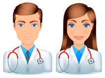 Male and female doctors. Cartoon male and female doctors with stethoscopes vector illustration