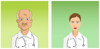 Male and female doctors. Avatars vector illustrations Royalty Free Stock Photos