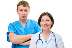 Male and female doctors companions portrait. Isolated Royalty Free Stock Image