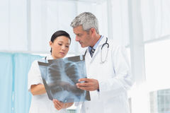 Male and female doctors examining x-ray Royalty Free Stock Image
