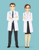 Male and female doctors isolated. Male and female doctors isolated on blue background. Man and woman profession characters Stock Photo