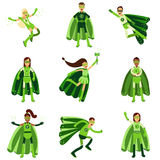 Male and female eco superheroes characters set, young people in different poses with green capes Illustrations stock illustration