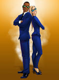 Male and Female Elegantly Dressed in Blue Secret Agents stock image
