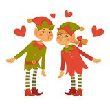 Male and female elves lean to kiss each other Royalty Free Stock Photos