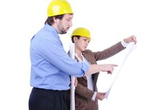 Male and female engineers Royalty Free Stock Images