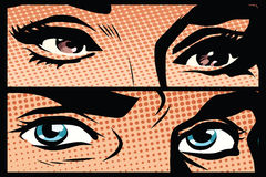 Male and female eyes close-up pop art retro. Vector. Look man and woman. Blue and brown eyes Royalty Free Stock Images