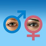 Male and female eyes on grad blue. Male and female eyes inside matching graphic symbols on grad blue background Royalty Free Stock Image