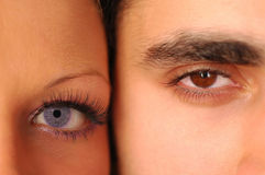 Male and female eyes Stock Photos