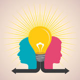 Male and female face with light-bulb Stock Photography