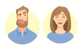 Male and female face. Man and woman. Male and female face. Flat vector characters Royalty Free Stock Photo