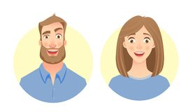 Male and female face. Man and woman. Male and female face. Flat vector characters Stock Photo
