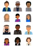 Multicultural society concept, man and woman characters. Flat icons set. Vector illustration stock illustration
