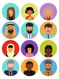 Multicultural society concept, man and woman characters. Flat icons set. Vector illustration royalty free illustration