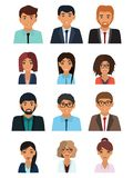 Male and female faces avatars. Businessman and businesswoman avatar icons stock illustration