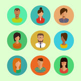 Male and female faces avatars. flat vector icons set Royalty Free Stock Photography