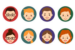 Male and female faces avatars. People icons. People Flat icons collection. Royalty Free Stock Photography