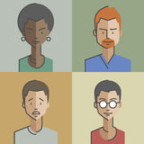 Male and female faces avatars Set 01 vector illustration