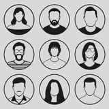 Male and female faces icon set. On gray background Royalty Free Stock Photos
