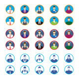Male and female faces icons, avatars. Business people. Stock Photos