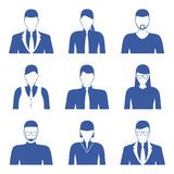Male and female faces icons, avatars. Business people. Royalty Free Stock Images