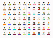 Male and female faces set. People flat icons. Male and female faces avatar set. People flat icons.Concept Style Modern vector design Royalty Free Stock Photography