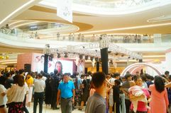 Shenzhen, China: male and female fans are waiting to watch Hongkong actress Myolie Wu D. Male and female fans wait to watch Hong Kong star hu xinger arrive at Royalty Free Stock Images