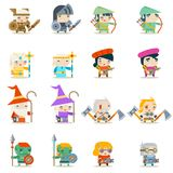 Male Female Fantasy RPG Game Character Vector Icons Set Vector Illustration Stock Images