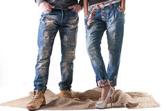 Male and female fashion jeans Stock Photography