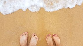 Feet on the sand beach. Male and female feet on the sand beach Stock Images