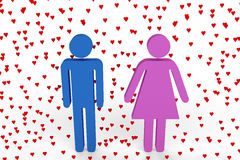 Male and female figures surrounded by hearts. CGI male and female figures surrounded by hearts Royalty Free Stock Images