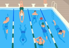 Male and female flat cartoon characters wearing caps, goggles and swimwear jumping and swimming or divining in pool. Men vector illustration