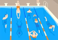 Male and female flat cartoon characters wearing caps, goggles and swimwear jumping and swimming in pool. Men and women. Performing sports activity in water Royalty Free Stock Photos