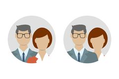 Male and female flat icon set. Business man with woman user avatar. Vector illustration royalty free illustration