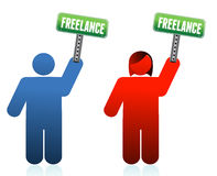 Male and female freelancer signs Stock Photos