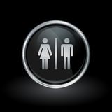 Male female gender icon inside round silver and black emblem Royalty Free Stock Photo